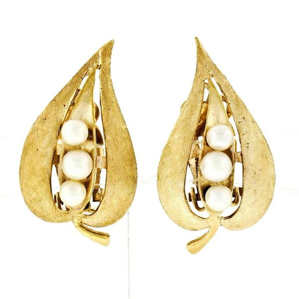 Vintage 14kt Yellow Gold Pearl Florentine Open Leaf Clip On Earrings
