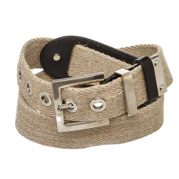 Dolce  Gabbana Tan Canvas and Leather Belt