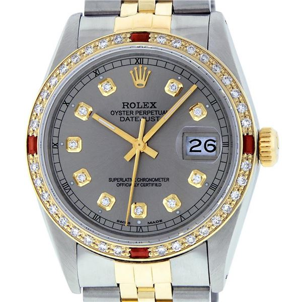 Rolex Mens 2 Tone Slate Grey Diamond & Ruby Datejust Wristwatch 36MM