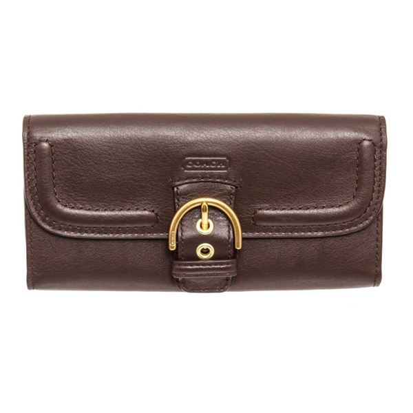 Coach Brown Campbell Leather Slim Buckle Wallet