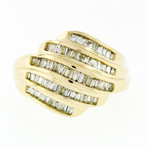 14k Yellow Gold 1.15 ctw 5 Channel Baguette Diamond Wide Tiered Swirl Band Ring