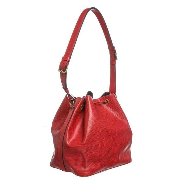 Louis Vuitton Red Epi Leather Noe PM Drawstring Shoulder Bag