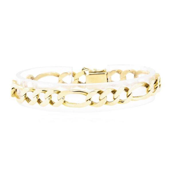 Figaro Link Bracelet - 18KT Yellow Gold