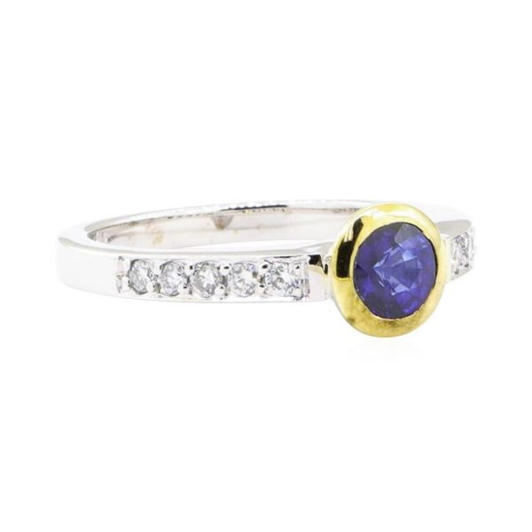 0.95 ctw Sapphire and Diamond Ring - 18KT White and Yellow Gold