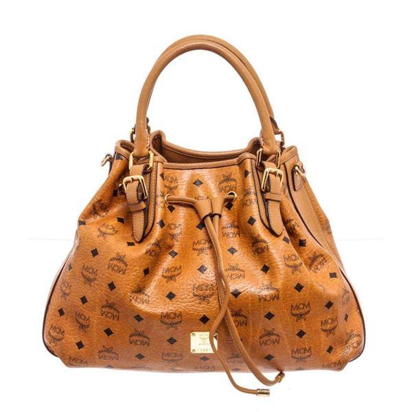 MCM Cognac Visetos Canvas Large Shopper Tote Bag