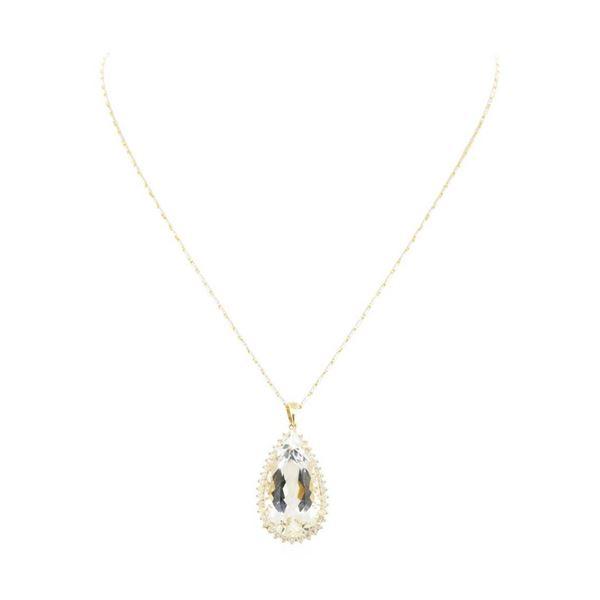 24.03 ctw Aquamarine and Diamond Pendant With Chain - 14KT Yellow Gold