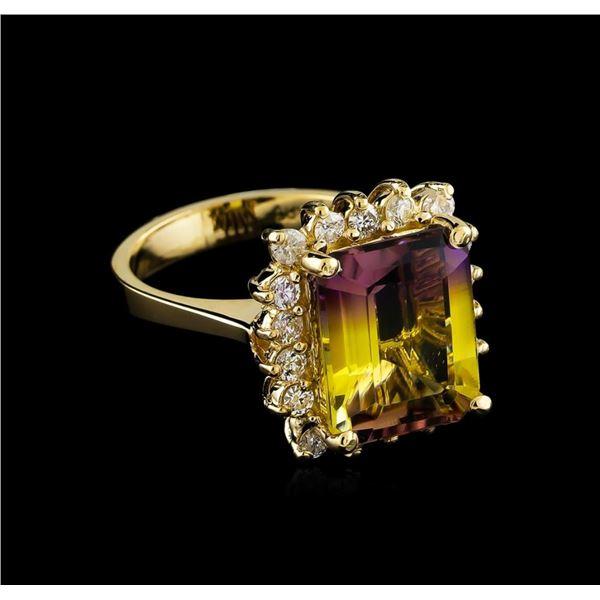 5.04 ctw Ametrine and Diamond Ring - 14KT Yellow Gold