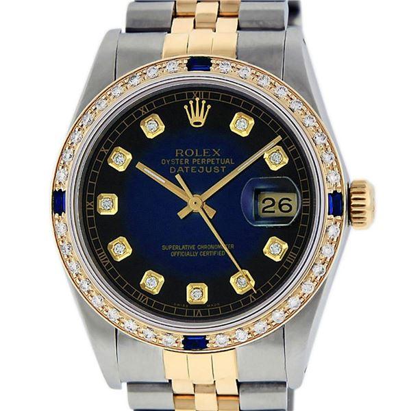 Rolex Mens 2 Tone Blue Vignette Diamond & Sapphire 36MM Oyster Perpetual Datejus