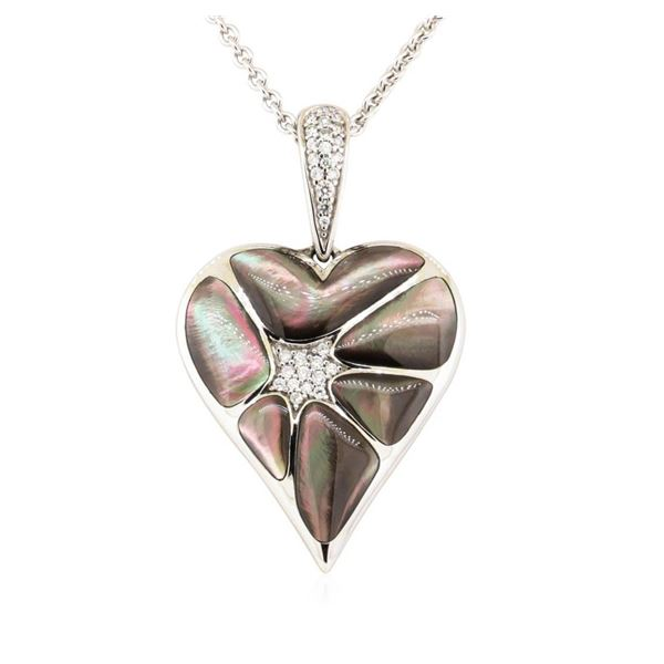0.17 ctw Diamond and Mother of Pearl Pendant And Chain - 14KT White Gold