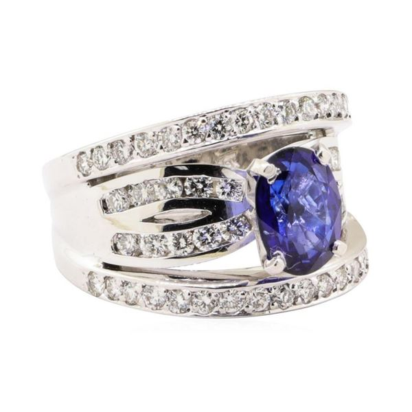 3.61 ctw Blue Sapphire And Diamond Ring - 18KT White Gold