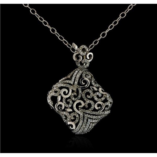 14KT White Gold 1.20 ctw Diamond Pendant With Chain
