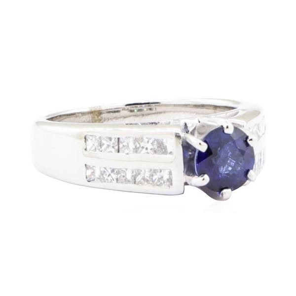 1.86 ctw Sapphire And Diamond Ring - 14KT White Gold
