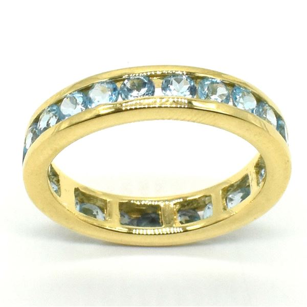 GOLD PLATED SILVER BLUE TOPAZ(2.9CT) GOLD MICRONE