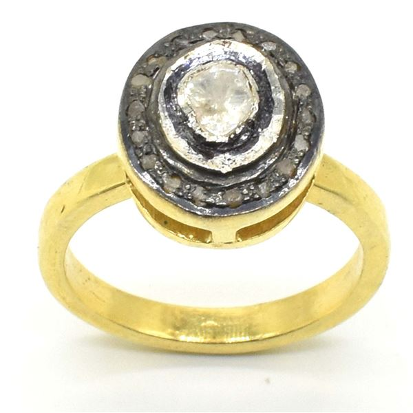 GOLD PLATED SILVER CERTIFIED RODE CUT DIAMOND