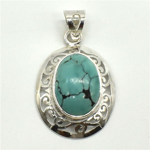 SILVER TURQUOISE(9.2CT) RHODIUM PLATED PENDANT