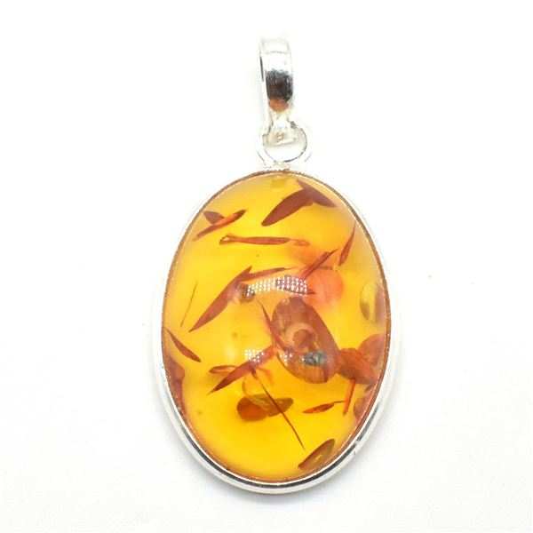 SILVER AMBER (RECONSTITUTED)(7.2CT) RHODIUM PLATED