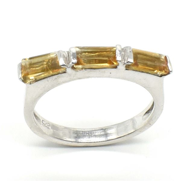 SILVER CITRINE(1.1CT) RHODIUM PLATED   RING