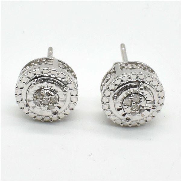 SILVER DIAMOND(0.2CT) RHODIUM PLATED EARRINGS
