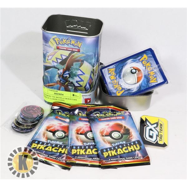 POKEMON TIN WITH x3 BOOSTERS ENERGY CARDS COINS