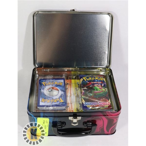 POKEMON TIN WITH x2 BOOSTER PACKS, ENERGY CARDS