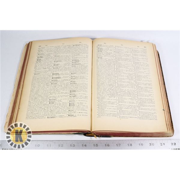 ANTIQUE 1885 ENGLISH AND GERMAN DICTIONARY