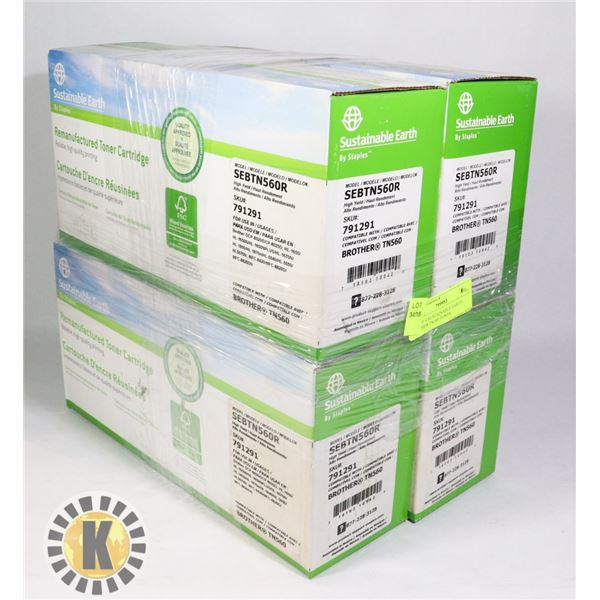 LOT OF 4 SUSTAINABLE EARTH BROTHER TN560 TONER