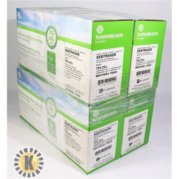 LOT OF 4 SUSTAINABLE EARTH BROTHER TN560 CARTRIDGE
