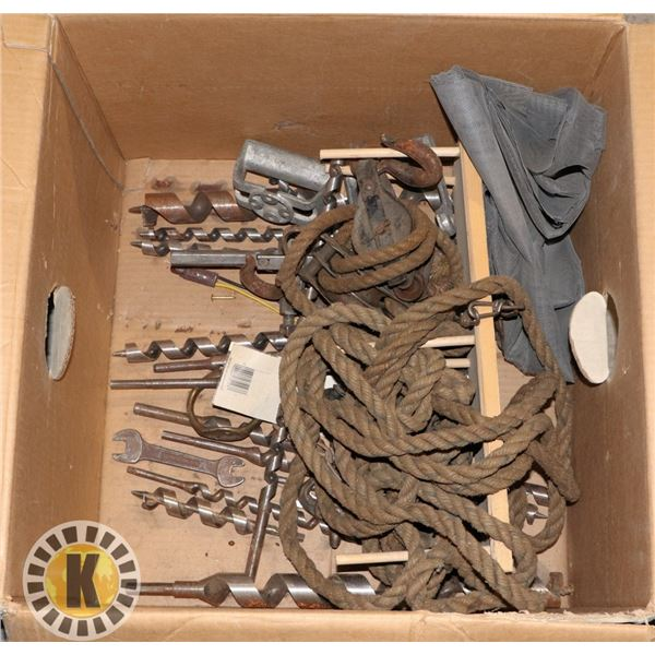 BOX OF ASSORTED LONG INDUSTRIAL DRILL BITS