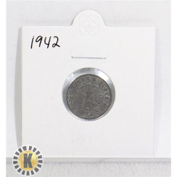 1942 WWII NAZI GERMANY 1 REICHSPFENNIG COIN