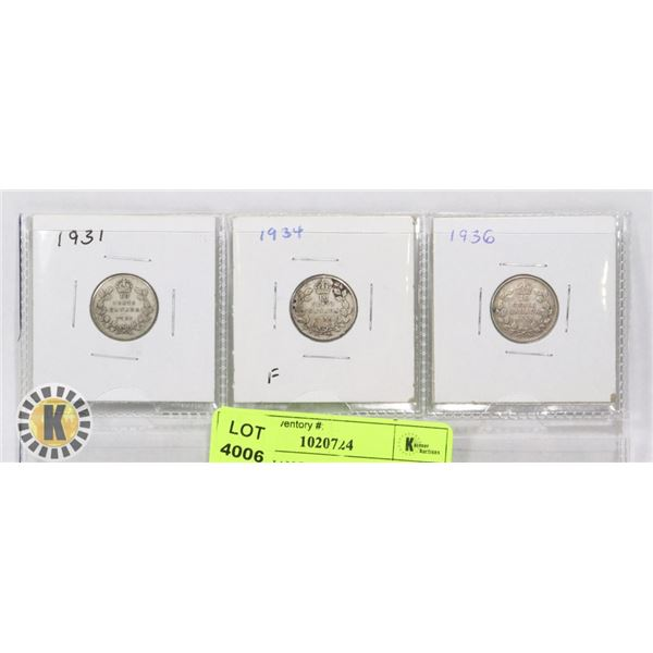 3 CANADIAN DIMES 1931, 1934, AND 1936
