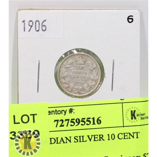 1906 CANADIAN SILVER 10 CENT COIN