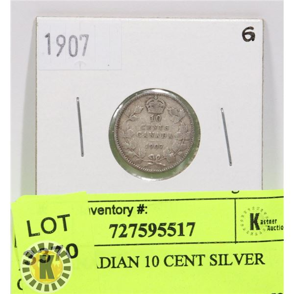 1907 CANADIAN 10 CENT SILVER COIN
