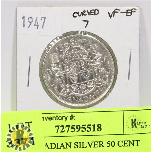 1947 CANADIAN SILVER 50 CENT COIN