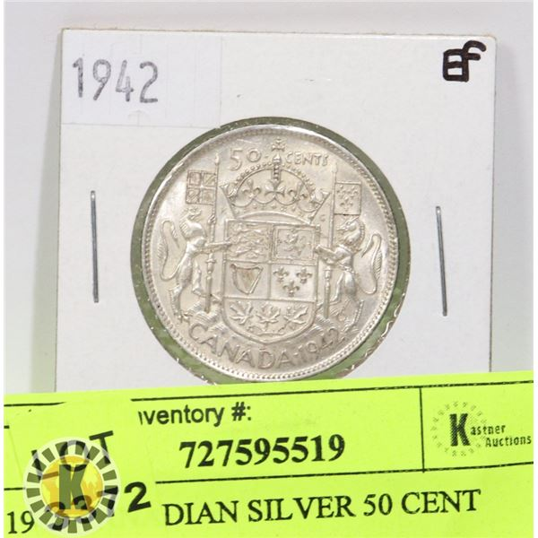 1942 CANADIAN SILVER 50 CENT COIN