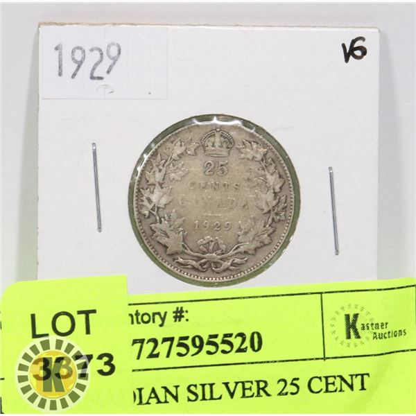 1929 CANADIAN SILVER 25 CENT COIN