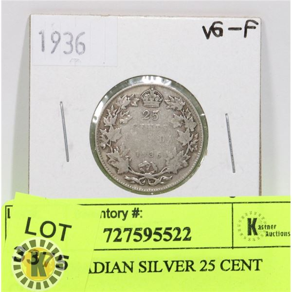 1936 CANADIAN SILVER 25 CENT COIN