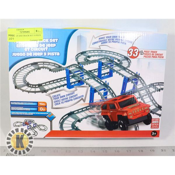 NEW JEEP AND TRACK SET 33 PIECE TRACK