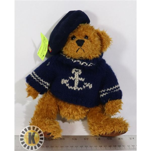 STUFFED BEAR BROWN WITH BLUE SWEATER/HAT