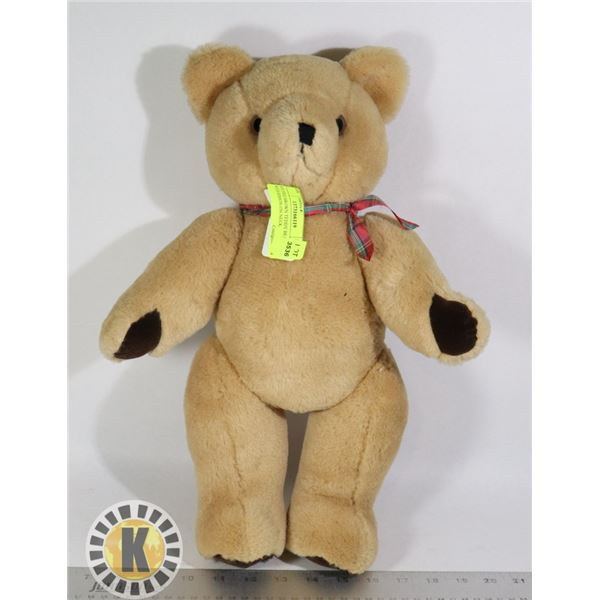 STUFFED BROWN TEDDY BEAR WITH RIBBON ON NECK