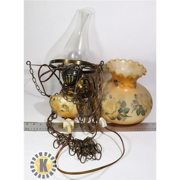 ANTIQUE STYLE HANGING LAMP WITH GLASS SHADE