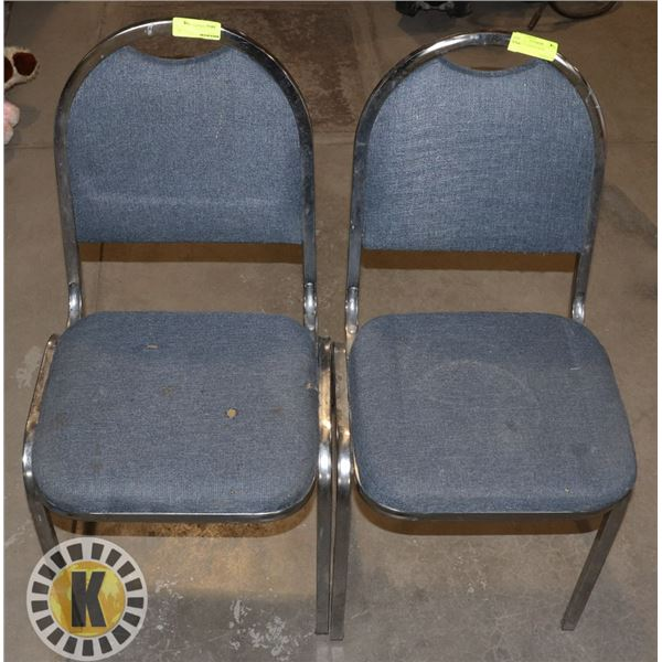 2 BLUE CUSHIONED CHAIRS