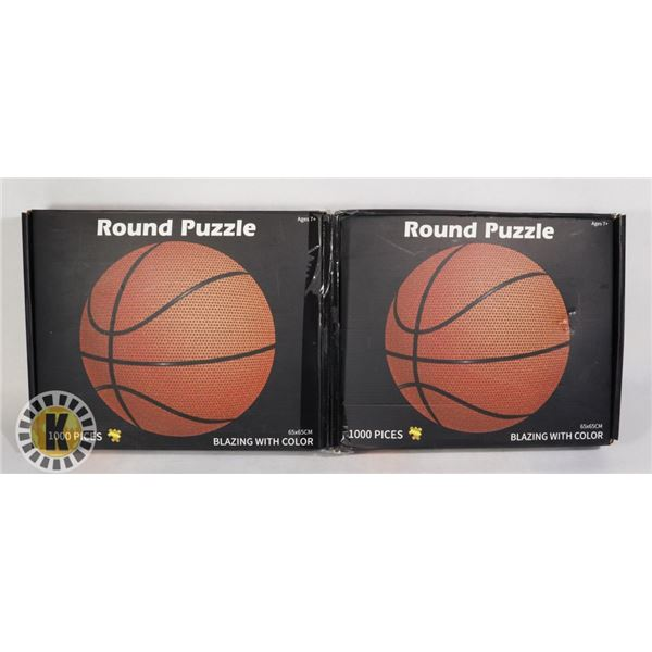 TWO 1000PC ROUND PUZZLES (BASKETBALL)
