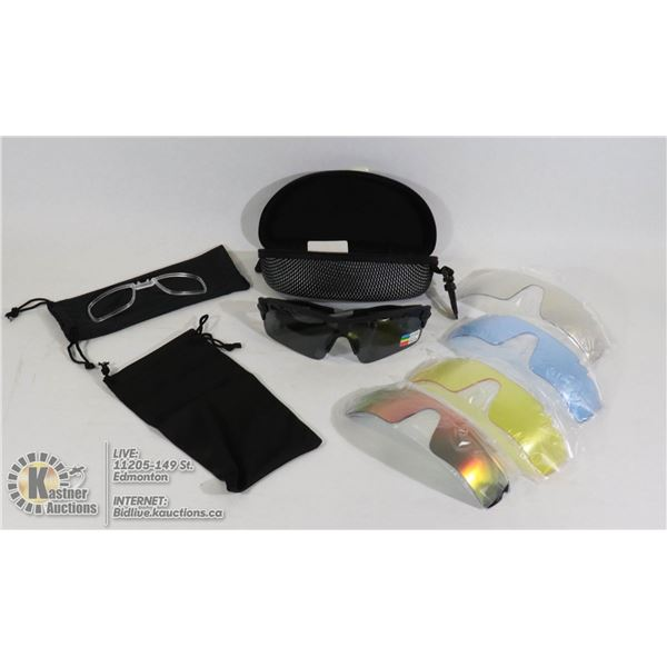 SPORTS SUNGLASSES WITH EXTRA LENSES AND