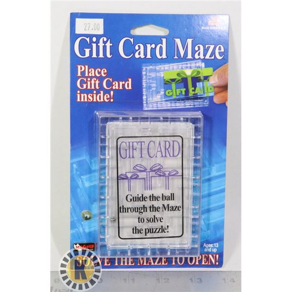 GIFT CARD MAZE, SOLVE THE MAZE TO OPEN, NEW