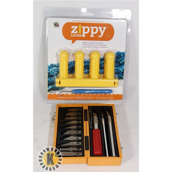 LOT OF CRAFT KNIFE CUTTINGS SET AND ZIPPY LOOM