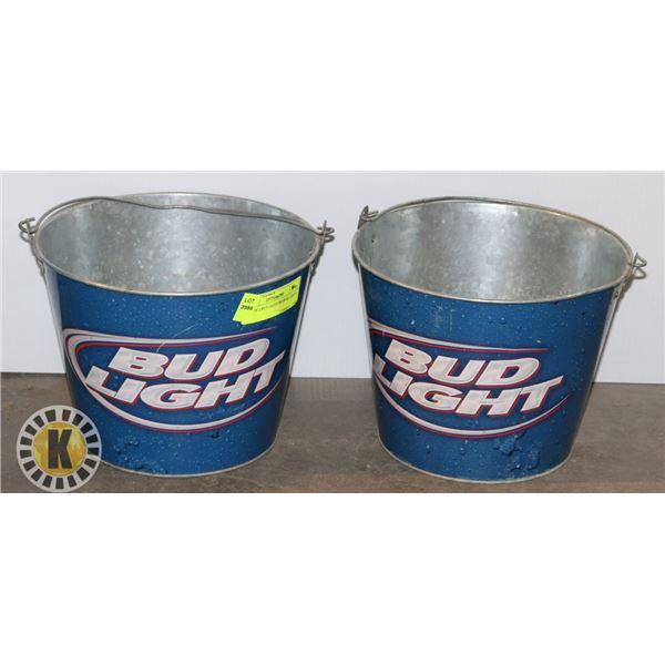 SET OF 2 BUD LIGHT BEER BUCKETS
