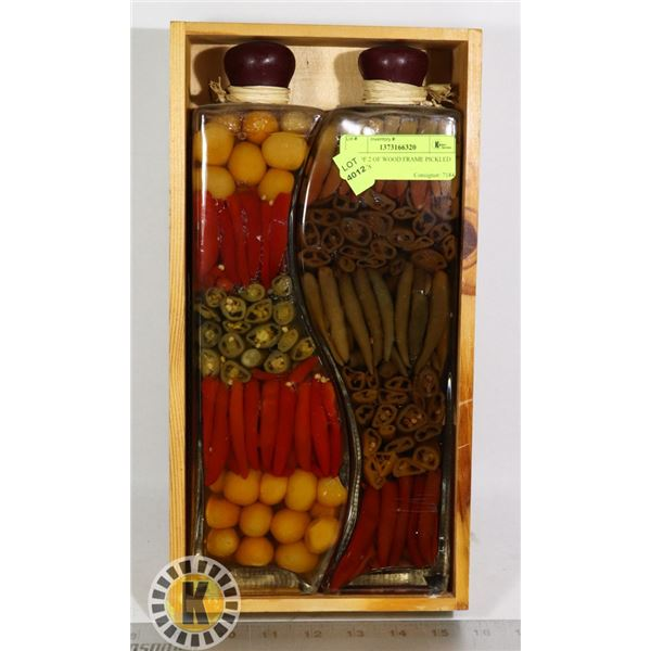 SET OF 2 OF WOOD FRAME PICKLED PEPPERS