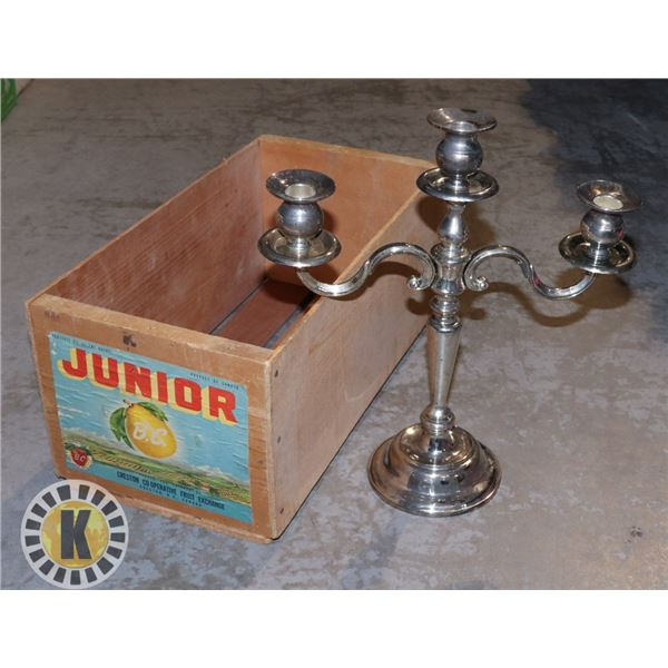 ANTIQUE CENTRE SILVER PLATE THREE CANDLE HOLDER