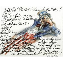 James Montgomery Flagg Autograph Drawing/Letter