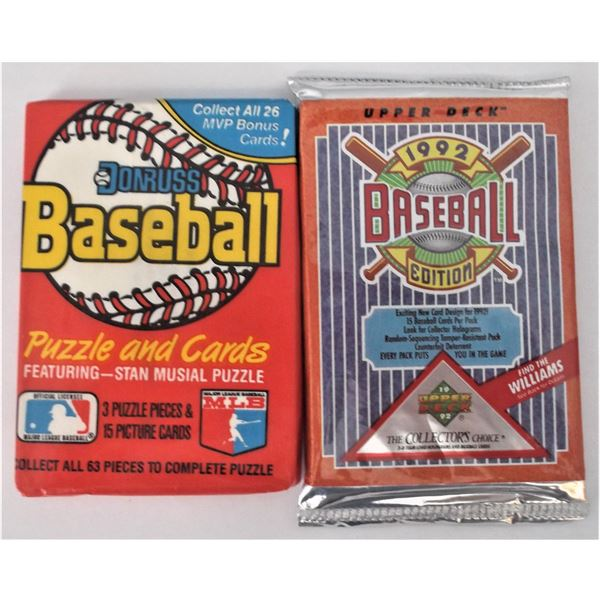 Upper Deck 1992 Baseball Cards & Donruss Baseball Cards - Unopened Packs